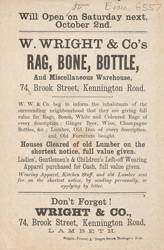 Advert for W Wright & Co, rag, bone and bottle warehouse